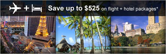 Save up to $525 on flight + hotel packages*