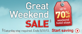Up to 70% off weekend hotel stays